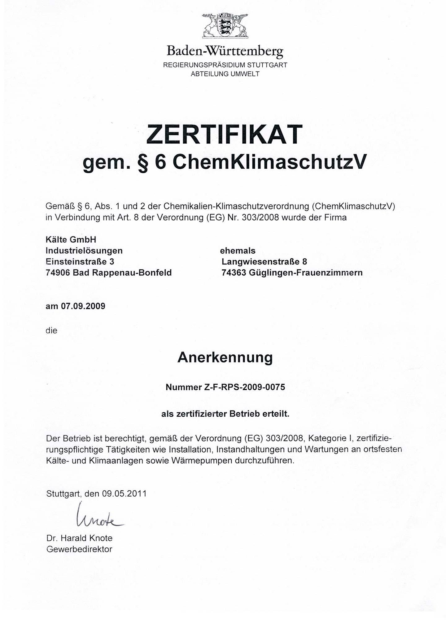 Anerkennung als zertifizierter Betrieb